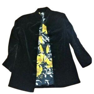 Vintage button up velvet black light jacket blazer